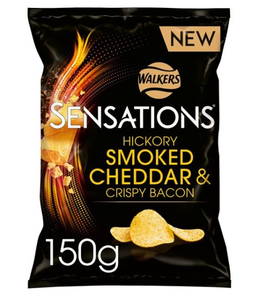 Walkers Sensations Hickory Smoked Cheddar & Bacon Chips 150g